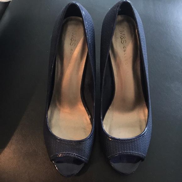 Blue Peep Toe Heels By Ms   Poshmark